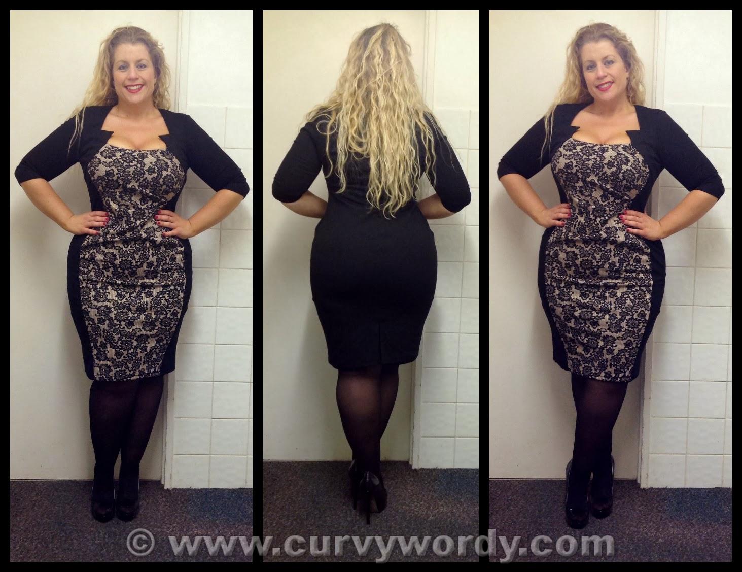 F&F Clothing at Tesco Julia Plus Size Lace Panel Illusion Dress 18 ...