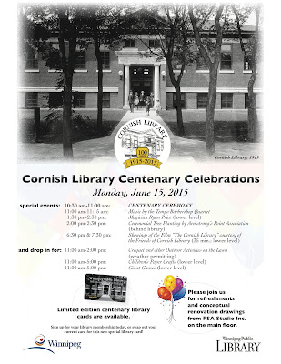 The Cornish Library celebration is June 15, 2015. Click for larger image. Image courtesy of the Winnipeg Public Library.