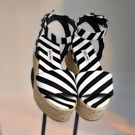 Miu Miu striped sandals.