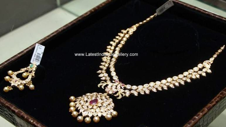 Pachi work polki diamond necklace