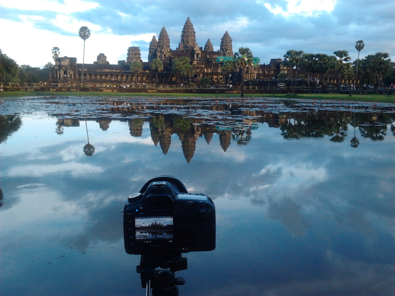 Angkor Wat temple in Cambodia at dusk
