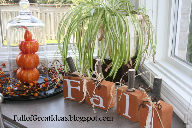 Full of Great Ideas: Fall Pumpkin 4x4s - Decorating on a Dime