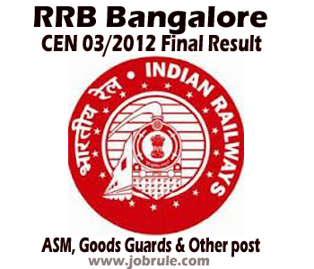RRBBNC Final Result of CEN 03/2012 of Goods Guard, ASM, ECRC, JAA with Document Verification Schedules