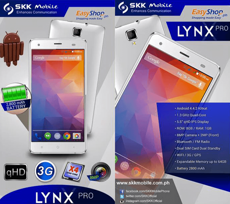 SKK LYNX PRO REVEALED! 5.5 INCH, QUAD CORE, 2800 MAH FOR 3,599 PESOS!