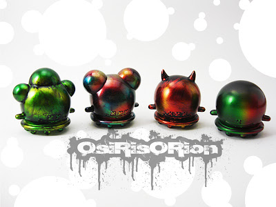 Tenacious Toys Exclusive Custom Buff Monster Mini Ice Cream Series by OsirisOrion - Sewer Sludge, Oil Slick, Molten Lava and Rainbow Cookie Vinyl Figures