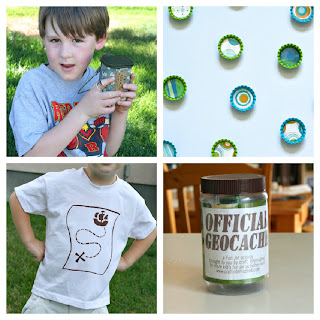 collage of geocache projects to do with kids
