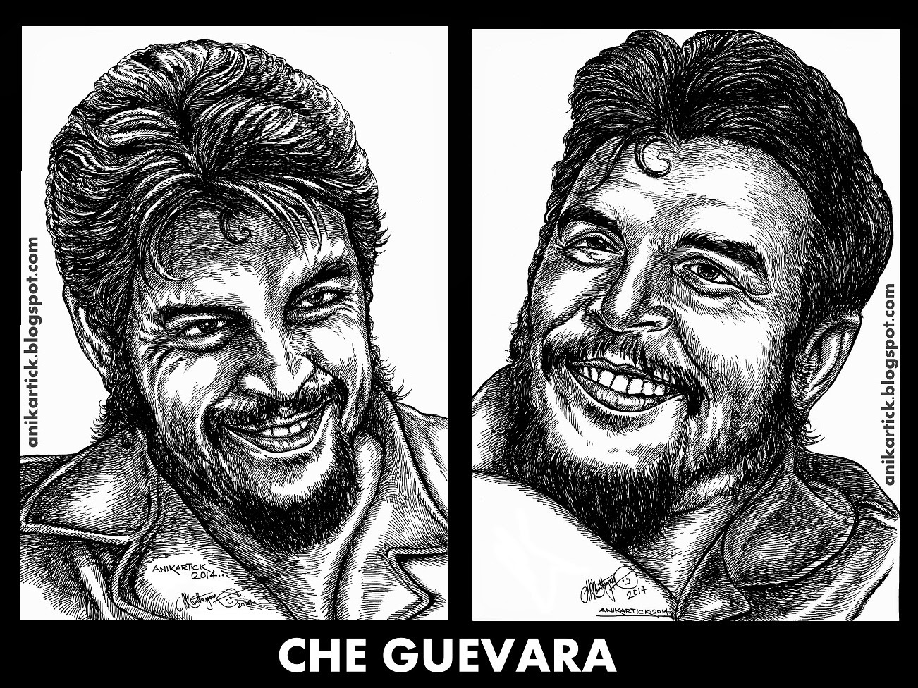 che guevara art drawing sketch illustration pen and ink drawing che guevara art drawing sketch illustration pen and ink drawing portrait leader portraits legend masters ani art chennai tamil nadu oviyan