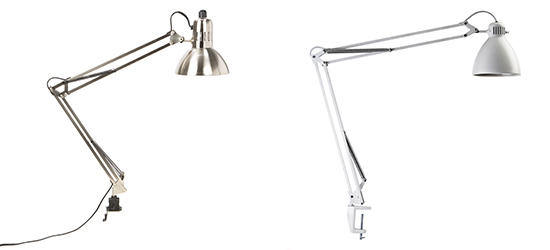 Swing arm clamp lamp by Lite Source and L-1 Edge clamp architect lamp by Luxo