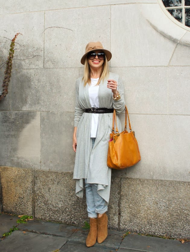 Tractr jeans, wrap sweater, deborah elle double wrap belt, audrey brook ankle booties, fedora