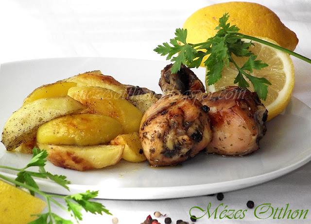 citromos sörös sült csirke tepsis burgonyával fotó