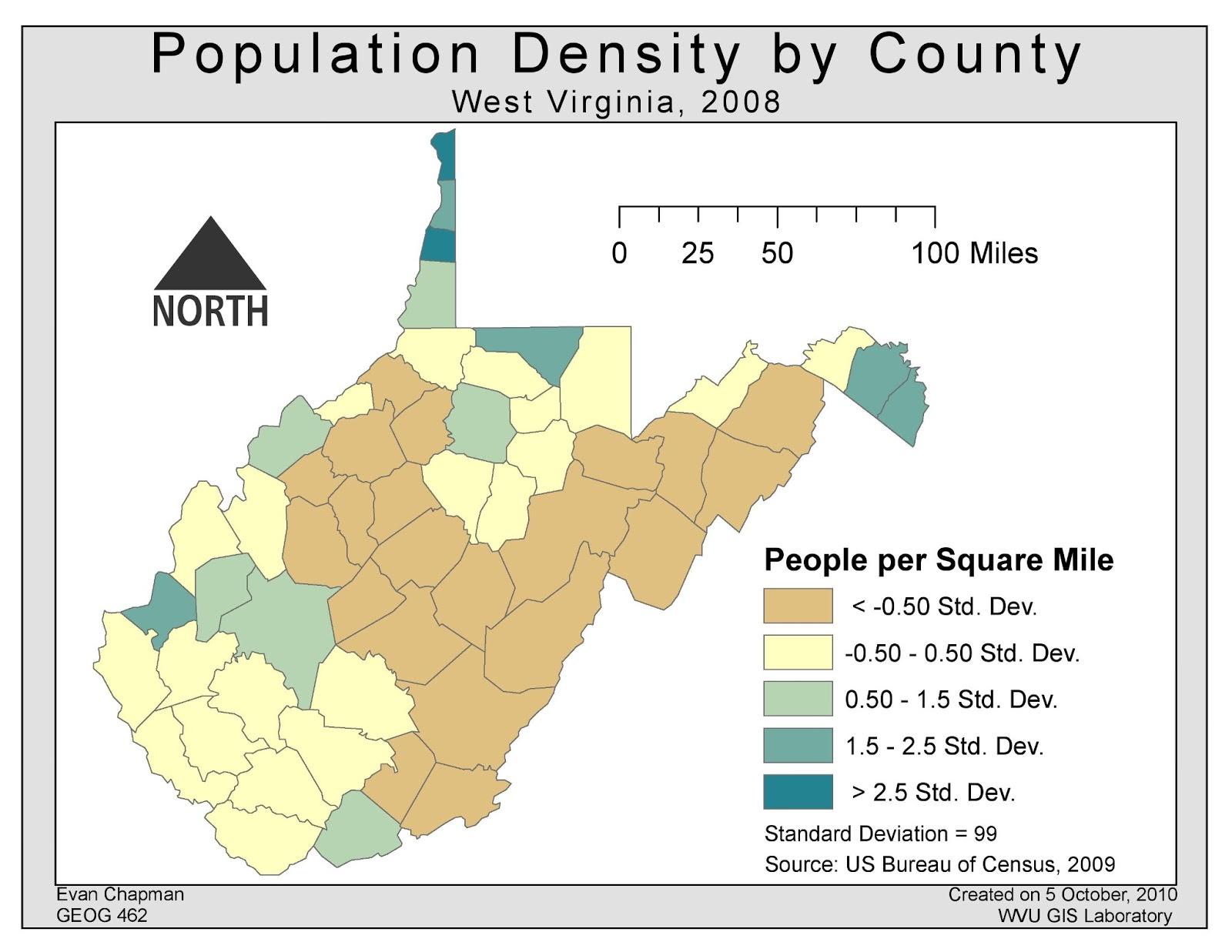 population density west virginia date october 5 2010