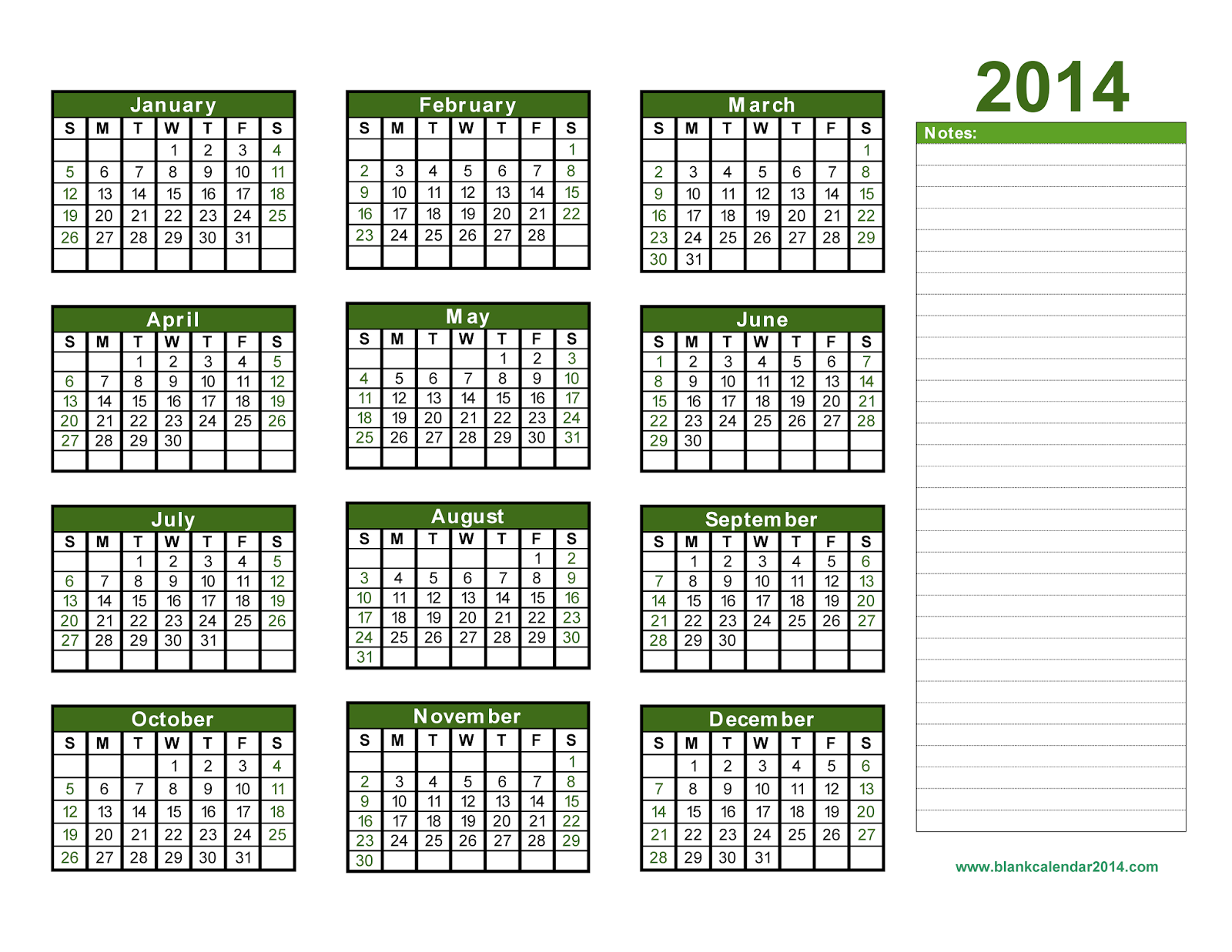 Home » Printable Yearly Calendars 2014 With Space To Write On