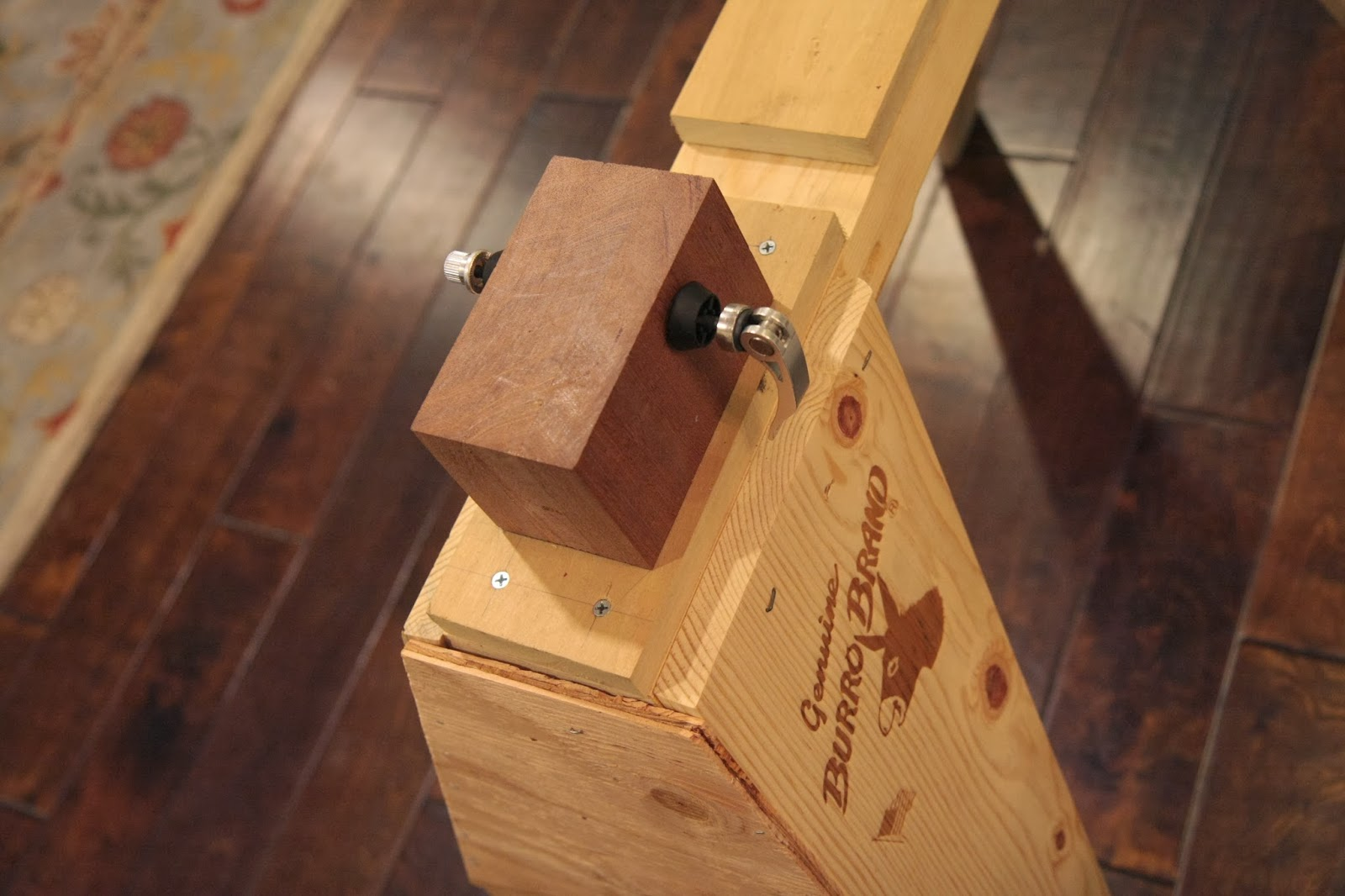 awesome Burro Brand Sawhorses Part - 13: The front and rear supports are made with blocks of wood glued together to  get the necessary width. However, I still added about 3 washers to each  side of ...