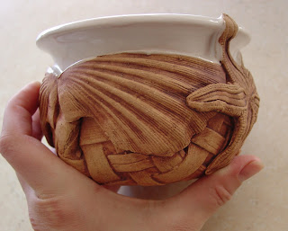 Shells and Sealife pottery bowl by Karin Villaroman
