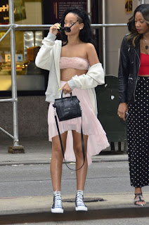 RIHANNA wearing a See Thru Top on the streets of New York