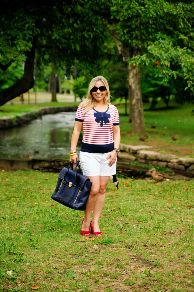 Banana Republic white shorts, Forever 21 red and white striped shirt, Payless shoes, 3.1 Phillip Lim purse, Burberry sunglasses, Michael Kors watch