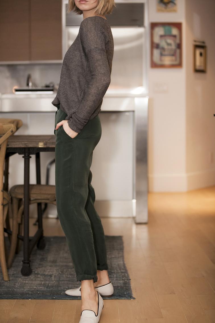 Helmut Lang grey knit sweater, COS emerald green silk pants, white snake embossed Anthropologie Leifsdottir loafers, vintage washed turskish rug, Restoration Hardware Flatiron reclaimed mood dining room table