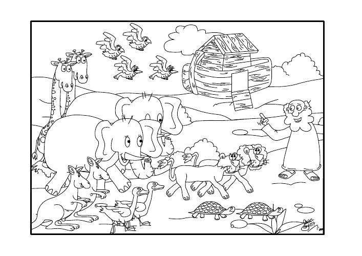 Dibujos Cristianos Para Colorear: El arca de Noe para colorear