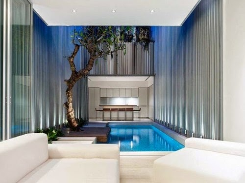 ultra modern rectangual private swimming pool design