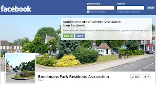 Screen grab of the Brookmans Park Residents Association's Facebook page