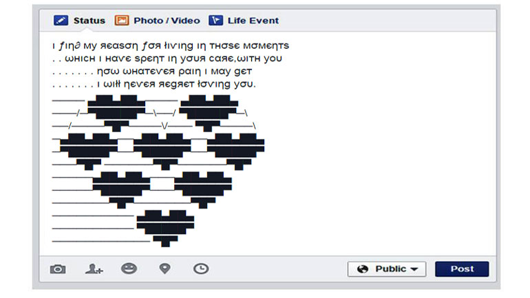 Heart Touching Status For Fb With Ascii Art Cool Ascii Text Art 4 U