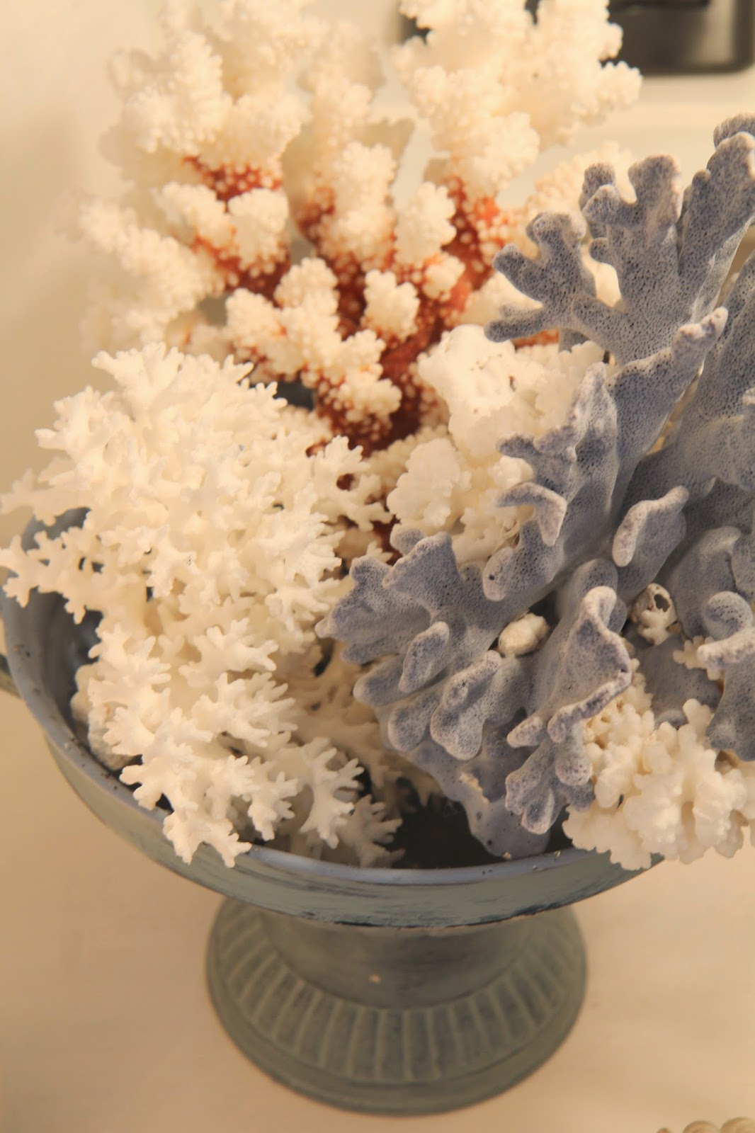 Coral in a blue urn; Transforming an Urn for Home Decor; Nora's Nest