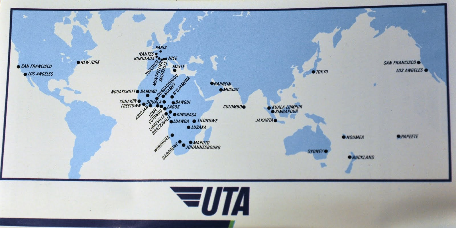 The Timetablist: UTA French Airlines: Worldwide Network, 1989