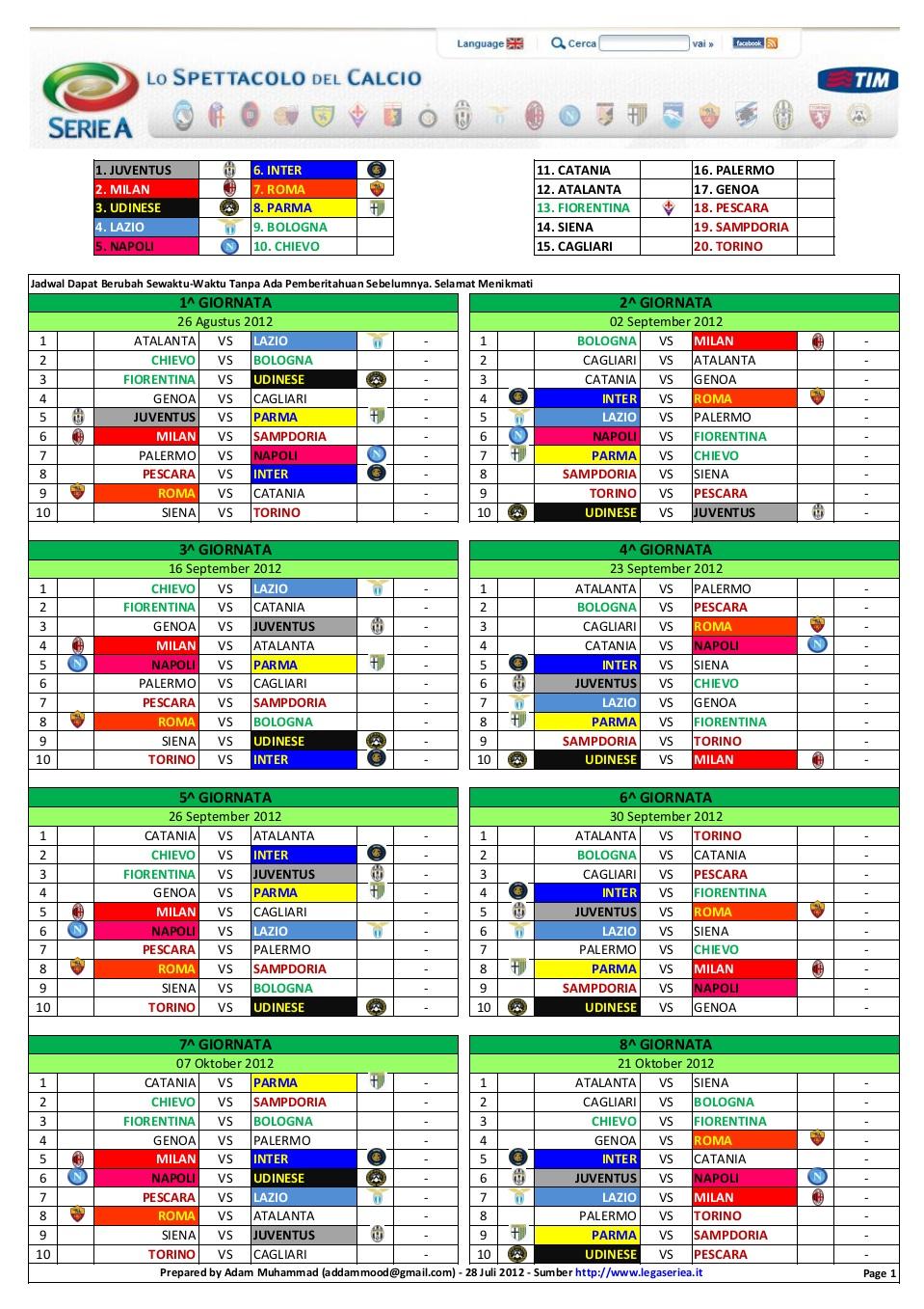 Jadwal Lengkap Liga Inggris Musim 2012 2013