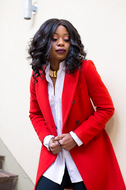 wide flare pants, red coat, www.jadore-fashion.com