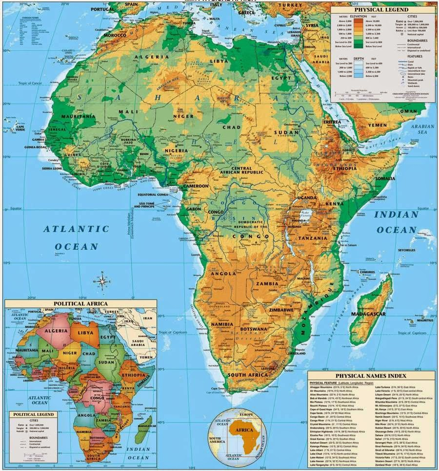 Another classic Africa physical map for people with geographic interests.