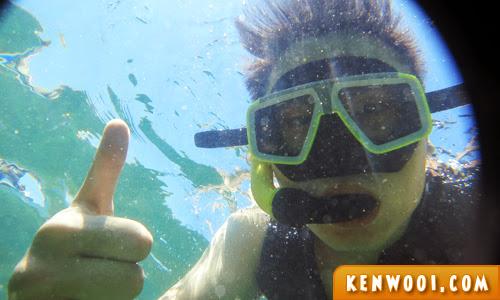 snorkeling underwater selfie