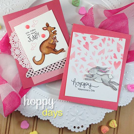 Kangaroo and Bunny Valentine Cards by Jennifer Jackson | Hoppy Days Valentine Stamp Set by Newton's Nook Designs #newtonsnook