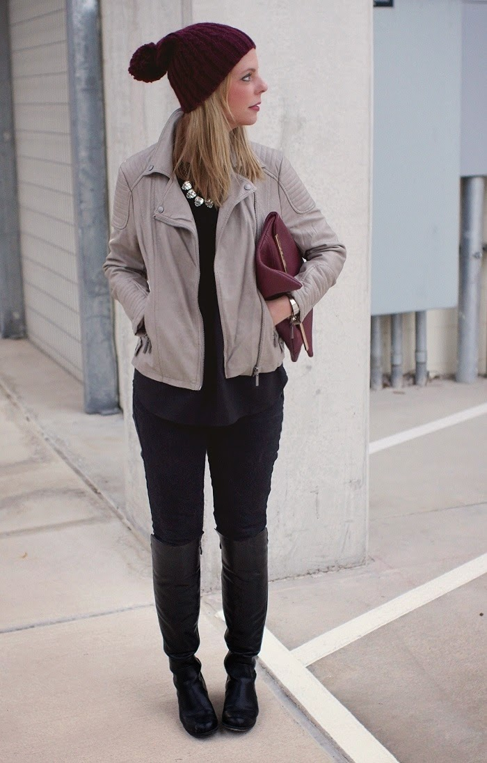 Gray Leather Moto jacket