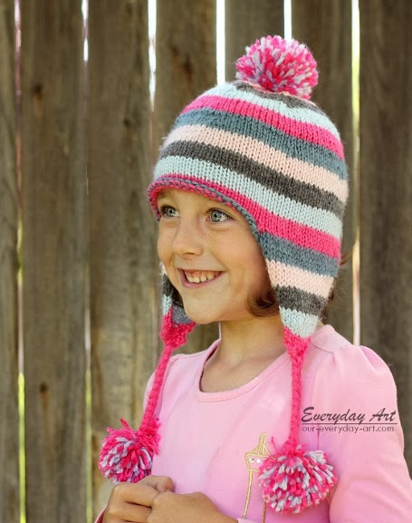 Free Knitted Beanie Patterns For Kids : Everyday Art: Childrens Knit Ear Flap Hat Pattern