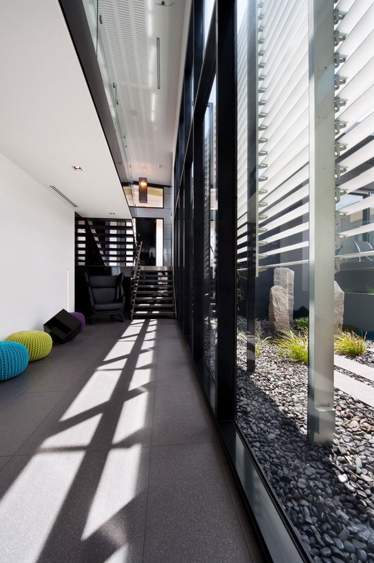 Glass wall on the Dream home in black and blue