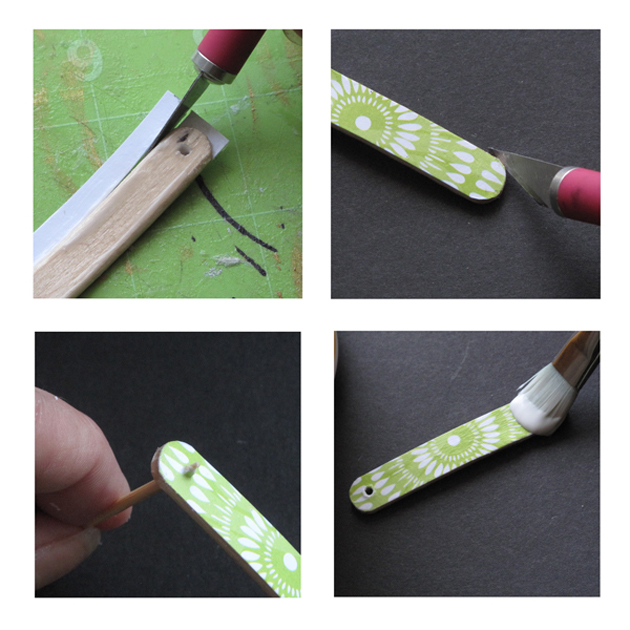 DIY Upcycled Popsicle Stick Bracelet Tutorial Steps 7 8 9 Glue