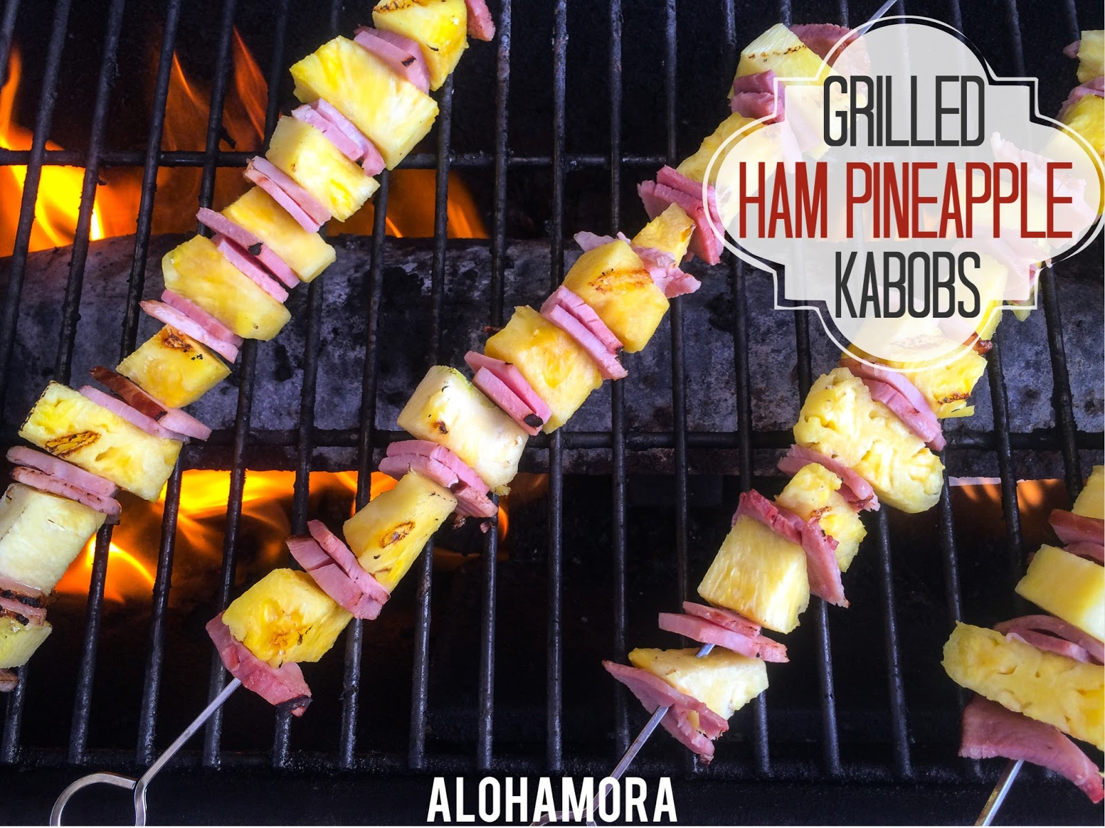 Grilled Ham and Pineapple Kabobs is an quick and easy dinner the whole family will enjoy.  Use your leftover ham and enjoy the sweetly grilled pineapple with the slightly crispy ham.  It is delicious!  Alohamora Open a BOok http://alohamoraopenabook.blogspot.com/ gluten free, nut free, egg free, fast, simple, grill, kid friendly