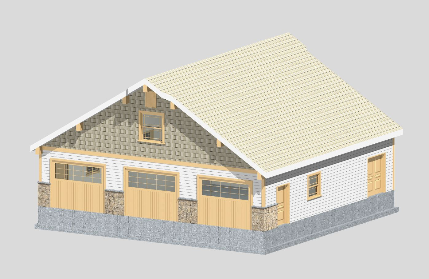 Garage with Attic Trusses