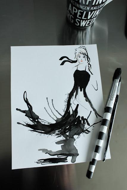 tavla svart klänning, tavlor i svart och vitt, prints svartvitt, svarta och vita prints, posters, coola tavlor, inredningstips tavlor