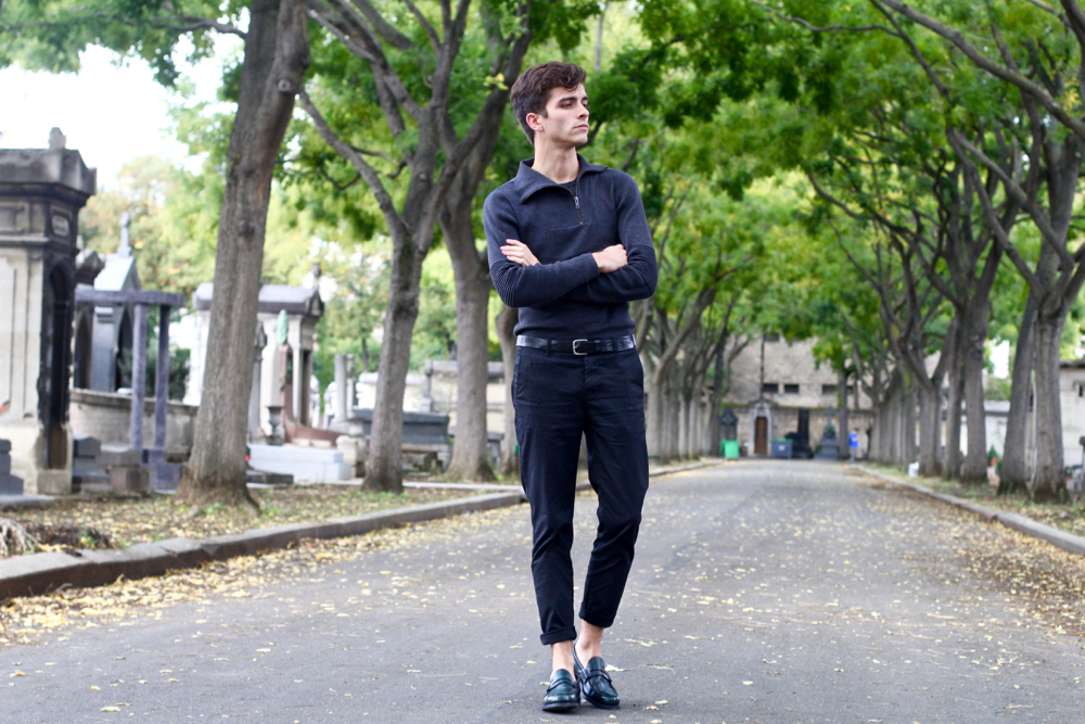 BLOG-MODE-HOMM_Preppy_Paris_churchs_mocassins-cuir_pull-asymetrique-ikks_darkshadow_chino-imprime-motif-geometrique-mensfashion-style-français-masculin