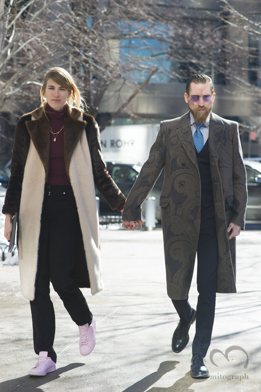 Veronika Heilbrunner and Justin O'Shea attend to Boss women 2015 2016 Fall Winter show during New York Fashion Week NYFW