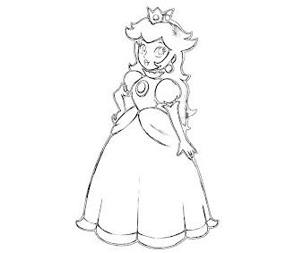 #14 Princess Peach Coloring Page