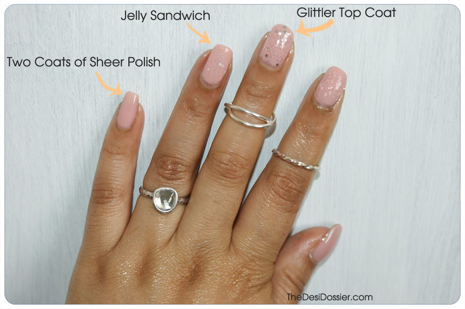 essie not just a pretty face, jelly sandwich manicure, sheer nailpolish