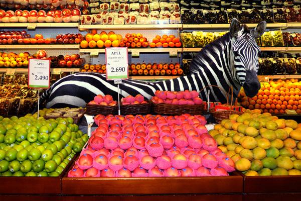 cebra en fruteria de supermercado