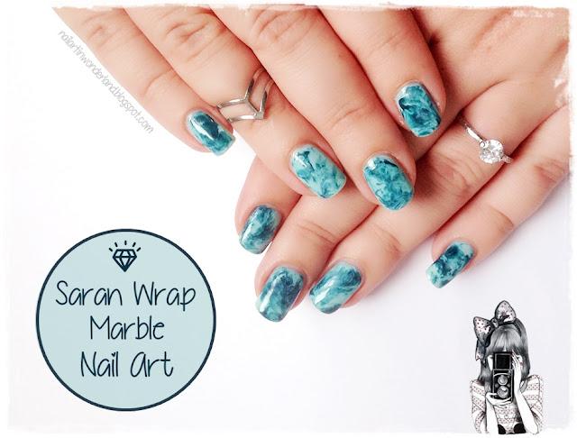 Saran Wrap Marble Nail Art