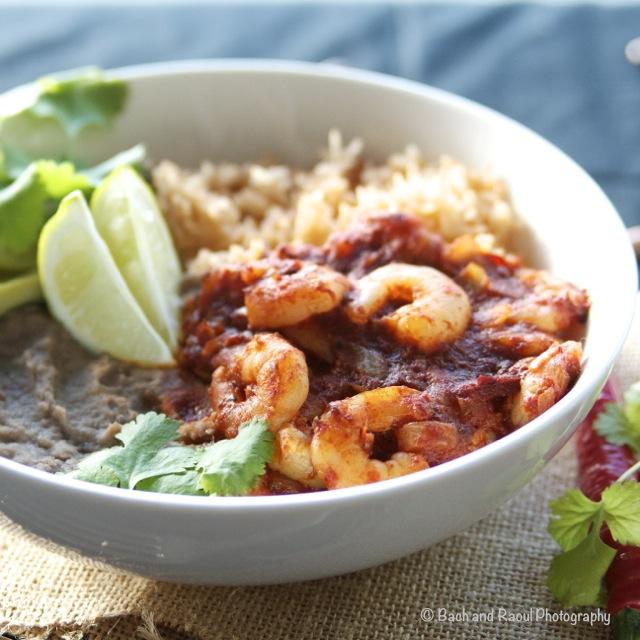 Shrimp Diablo Bowl with Homemade Refried Beans