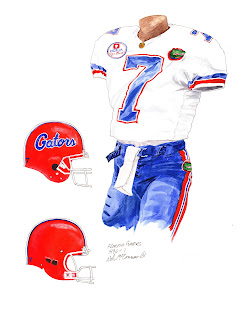 1996 University of Florida Gators football uniform original art for sale