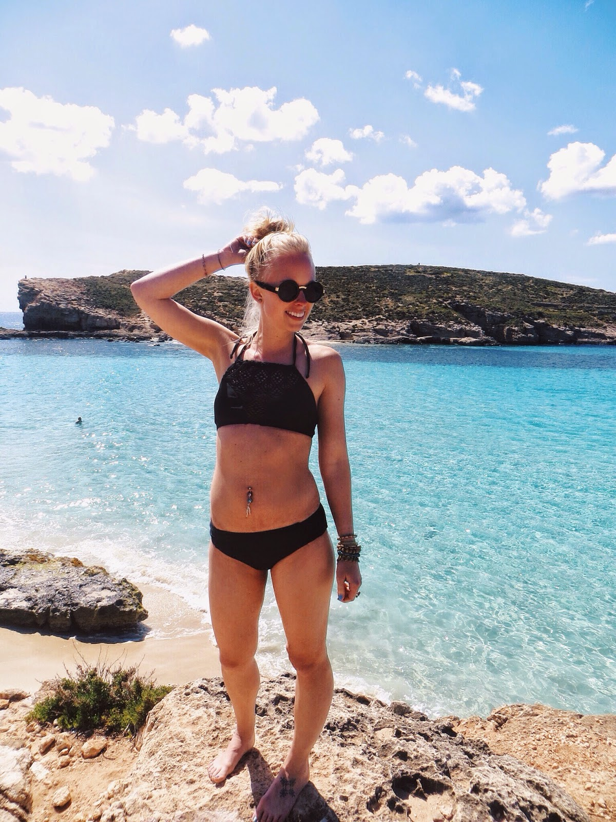 maurice's crochet swim top, maurices swim bottoms, azeeta designs feather belly ring, ami clubwear fringe backpack, clearest water in the world, malta, gozo, comino, day trips