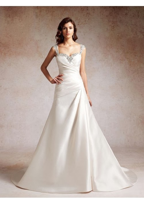 Satin Strap Sweetheart Ruched Bodice A Line Wedding Gown