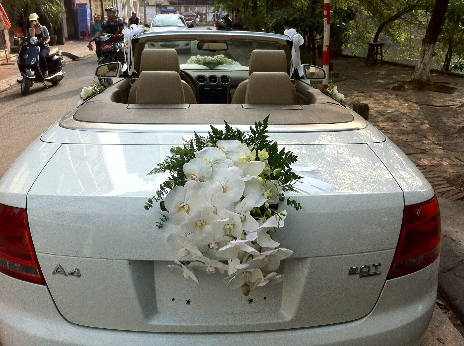 Cho thuê xe cưới màu trắng Audi A4 mui trần 1